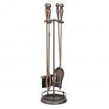 UniFlame 5 Pc Venetian Bronze Fireset With Ball Handles