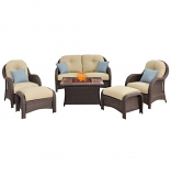 6-Piece Woven Seating Set with Fire Pit Table-wood grain tile top