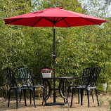 Aluminum Patio Table Umbrella with Push Button Tilt & Crank, Red