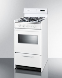 "20"" wide gas range in white oven window"