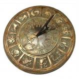 Rome Brass Zodiac Sundial - Solid Brass w/Patina Highlights