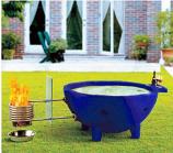 Round Fire Burning Portable Outdoor Hot Tub, Dark Blue