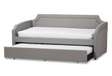 Grey Fabric Corners Sofa Twin Daybed with Roll-Out Trundle Bed