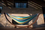 Double Cotton Hammock with Solid Pine Arc Stand - Cayo Reef 8ft