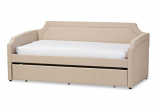 Beige Linen Fabric Corners Sofa Twin Daybed with Roll-Out Trundle Bed