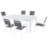 "7-Piece Dining Set with 6 Sling Chairs and 40"" x 118"" Dining Table"