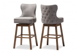 Brown Wood Finish and Grey Fabric Button-Tufted Swivel Barstool-2 Set