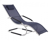 Vivere WAVELNG1-NW Wave Lounger - Aluminum-Navy on Matte White