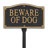 "American Crafted ""Beware of Dog"" Statement Wall Marker - Black/Gold"