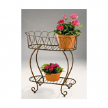Metal Wave Oval Planter Stand By DEER PARK IRONWORKS