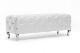 Stella Crystal Tufted White Modern Bench