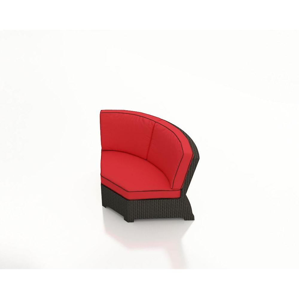 Forever Patio Barbados 45 Deg Corner Chair - Ebony/Canvas Jockey Red