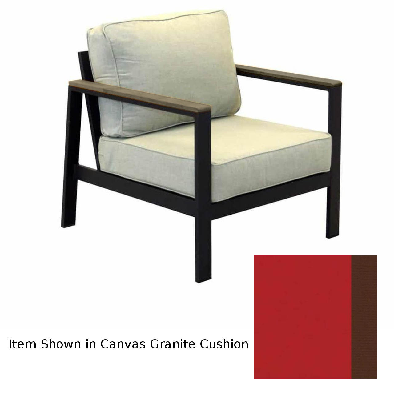Forever Patio Hanover Club Chair - Gray/Jockey Red/Brown
