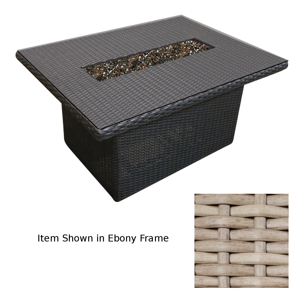 """Forever Patio Universal Woven 48""""x28"""" Fire Table - Buff"""