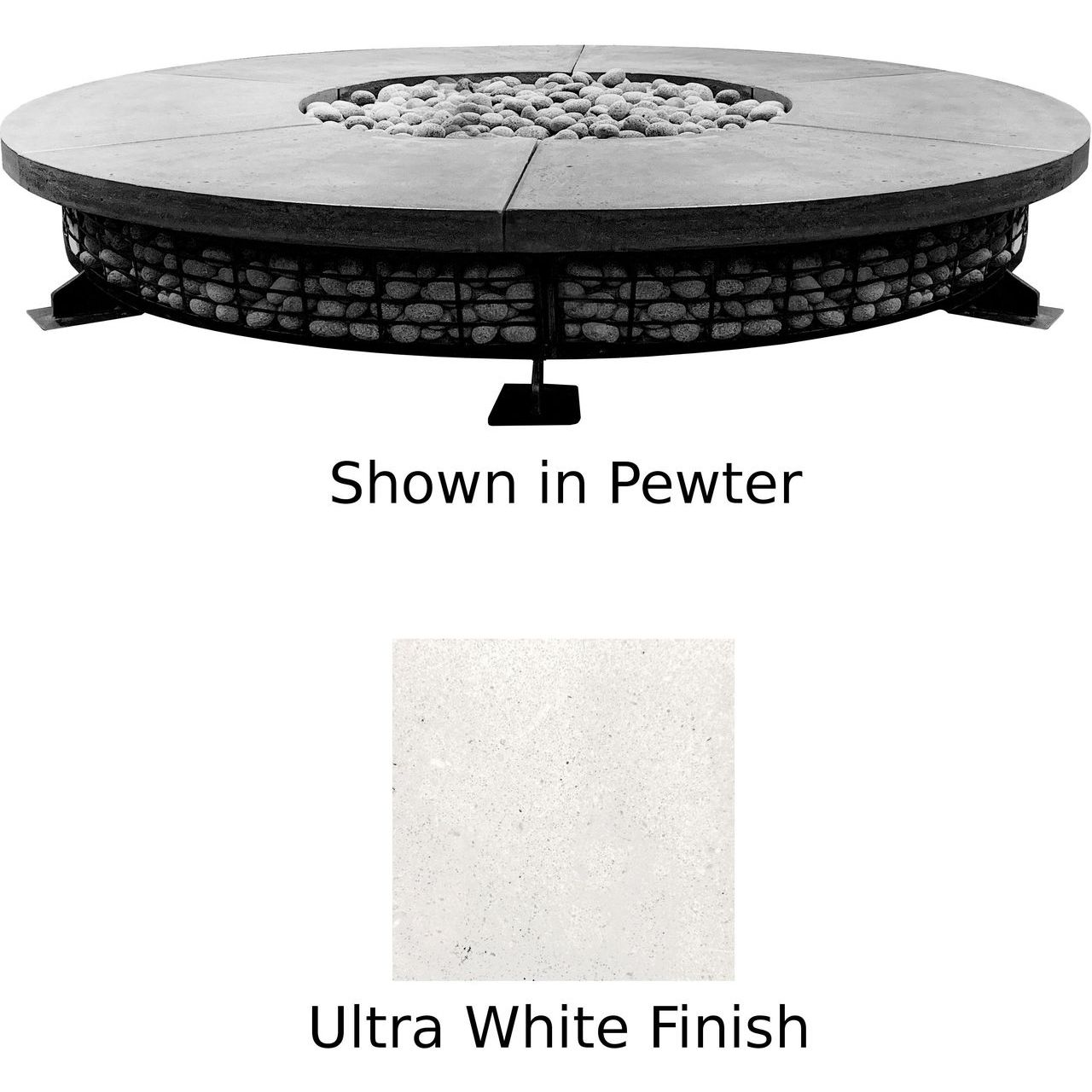 Prism Hardscapes Fuego 8' Concrete Gas Fire Pit in Ultra White - NG