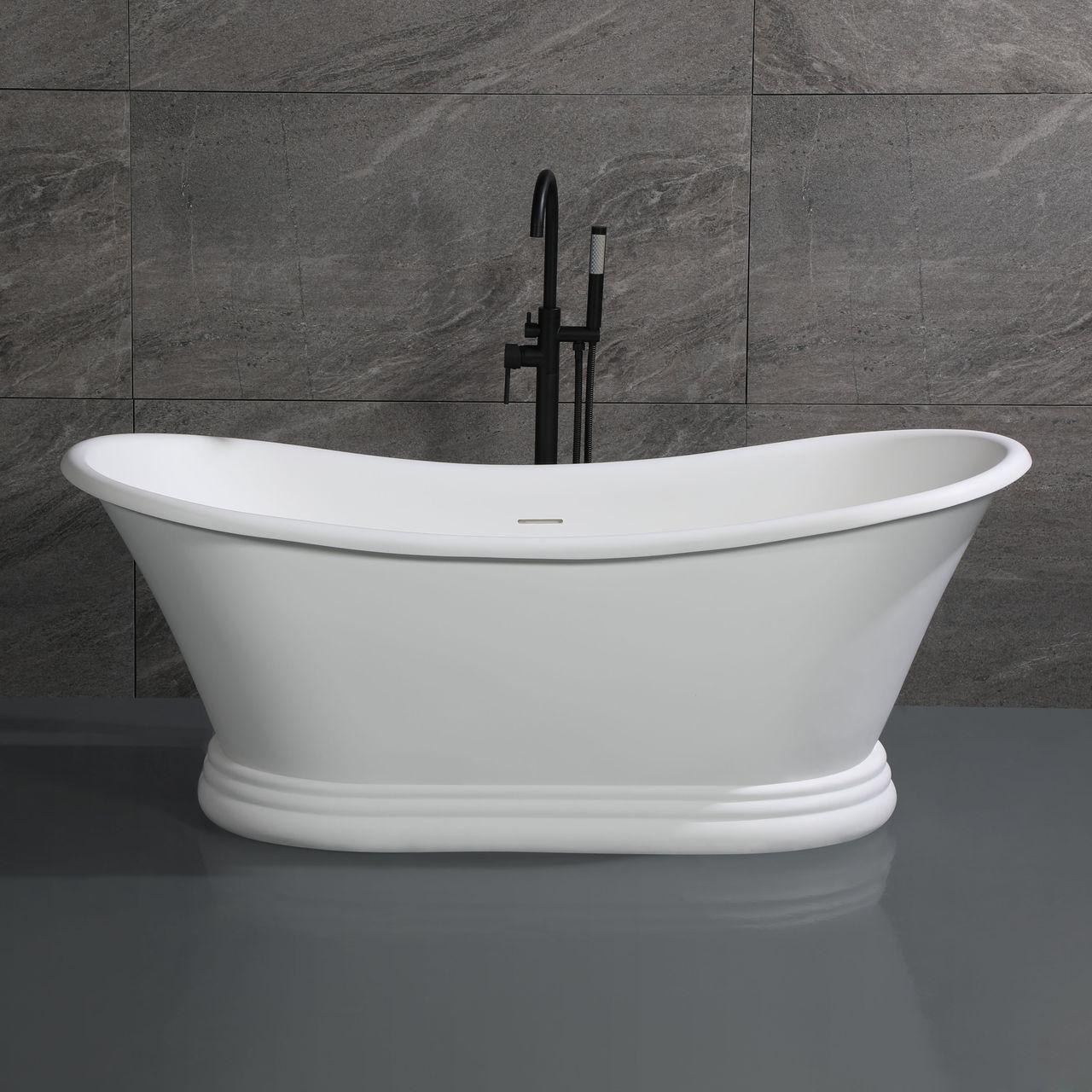 "ALFI 67"" White Matte Pedestal Solid Surface Resin Bathtub"
