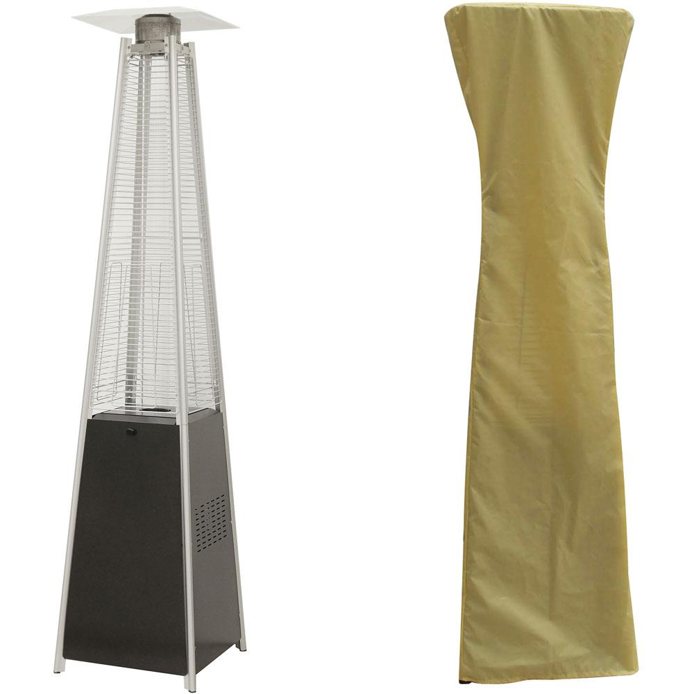Hanover 7ft Pyramid Flame Glass Patio Heater - Black/Cream