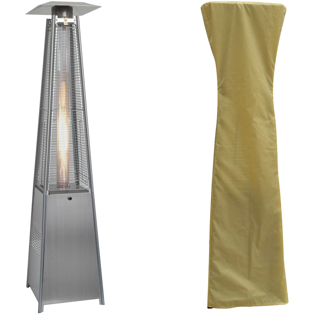 Hanover 7ft Pyramid Flame Glass Patio Heater - Stainless Steel/Cream