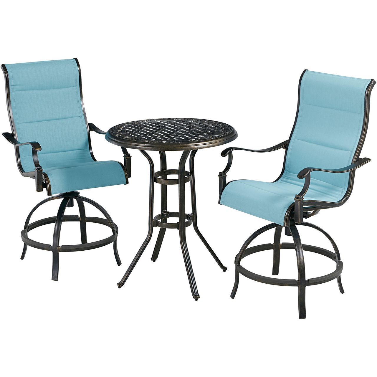 """Hanover Traditions 3-Pc 30"""" High-Dining Bistro Set With Blue Chairs"""