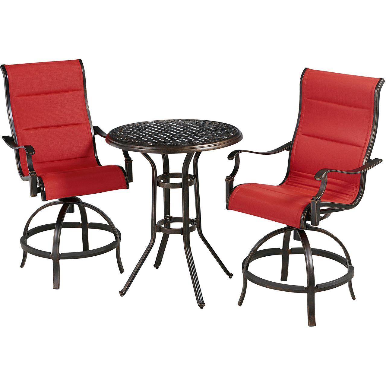 """Hanover Traditions 3-Pc 30"""" High-Dining Bistro Set With Red Chairs"""