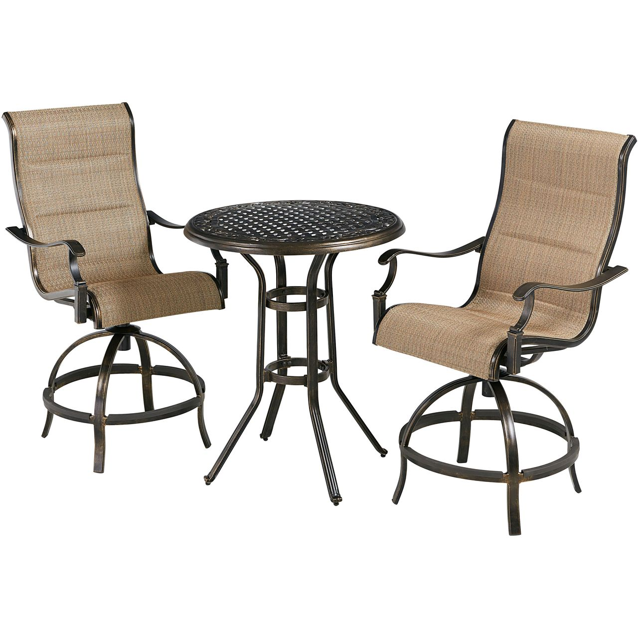 """Hanover Traditions 3-Pc 30"""" High-Dining Bistro Set With Tan Chairs"""
