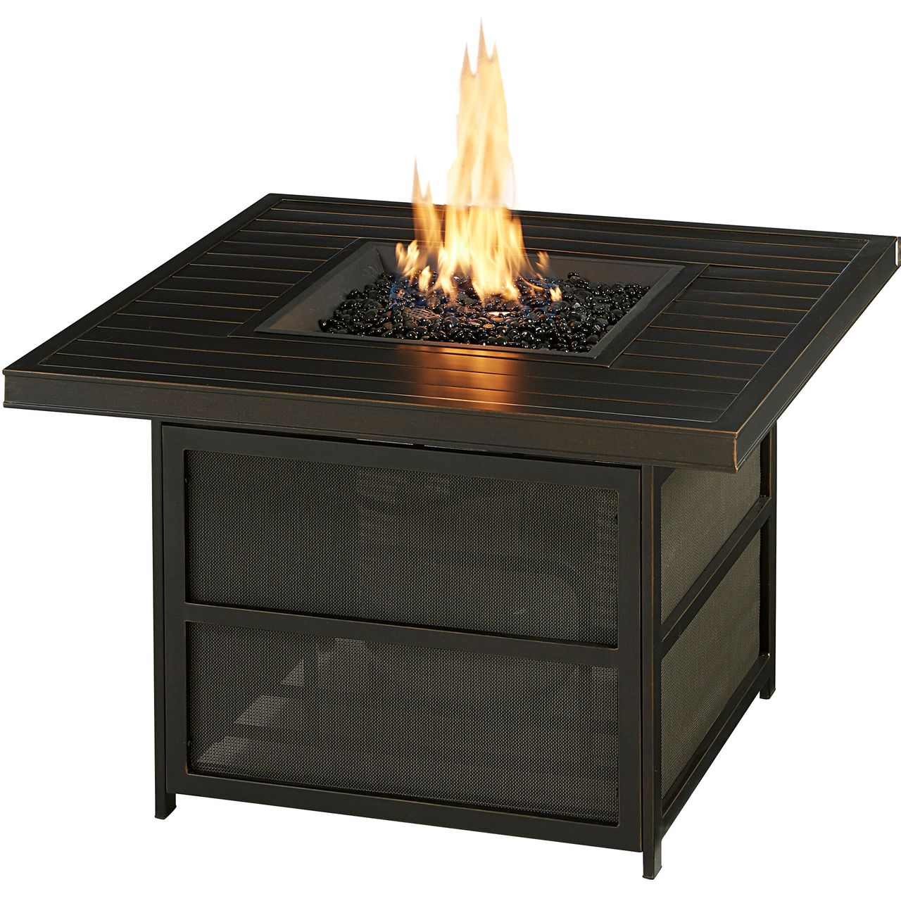 """Hanover Traditions 38"""" 30K BTU Square Aluminum Slat-Top Fire Pit Table"""