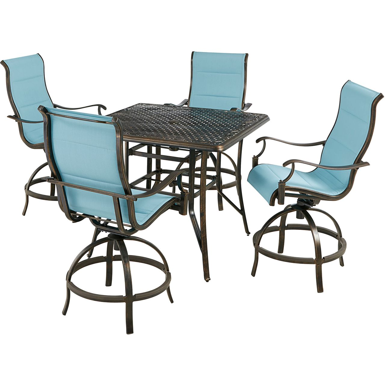 """Hanover Traditions 5-Pc 42"""" High-Dining Set With Blue Chairs"""