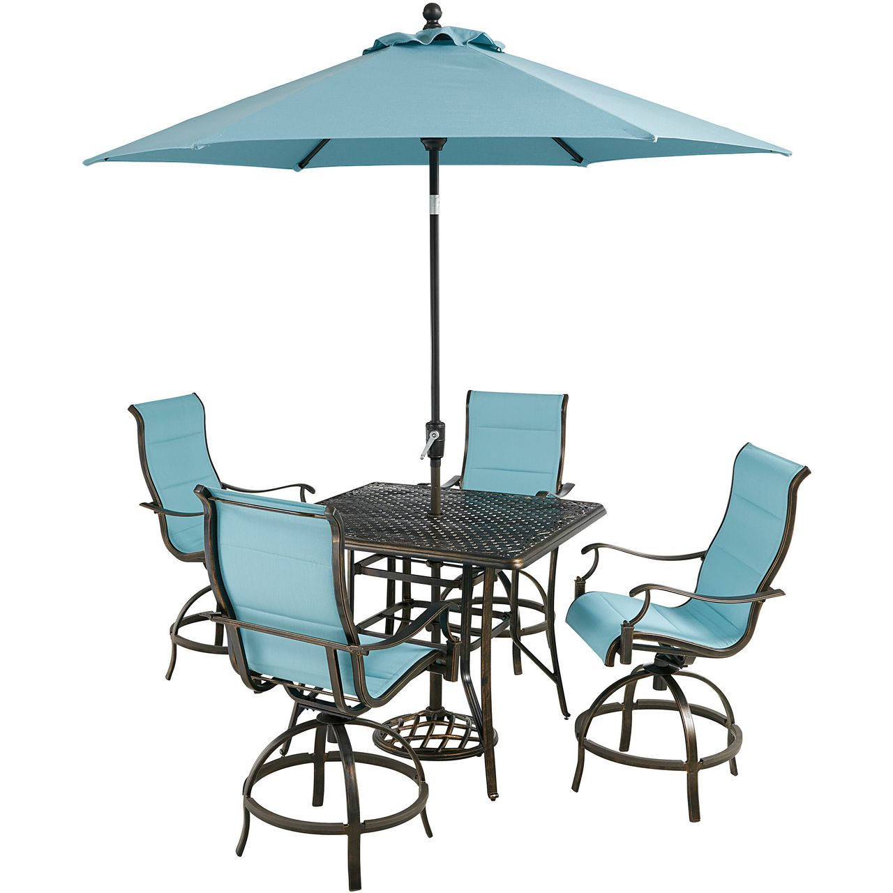 """Hanover Traditions 5-Pc 42"""" High-Dining Set With Blue Chairs/Umbrella"""