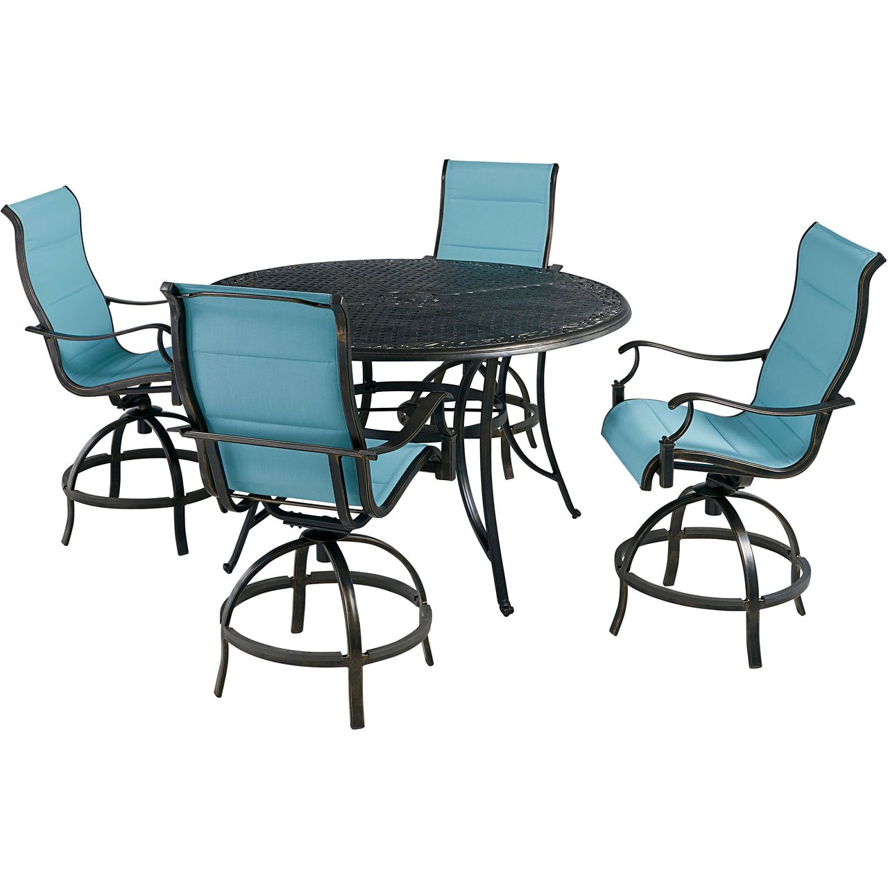 """Hanover Traditions 5-Pc 56"""" High-Dining Set With Blue Chairs"""