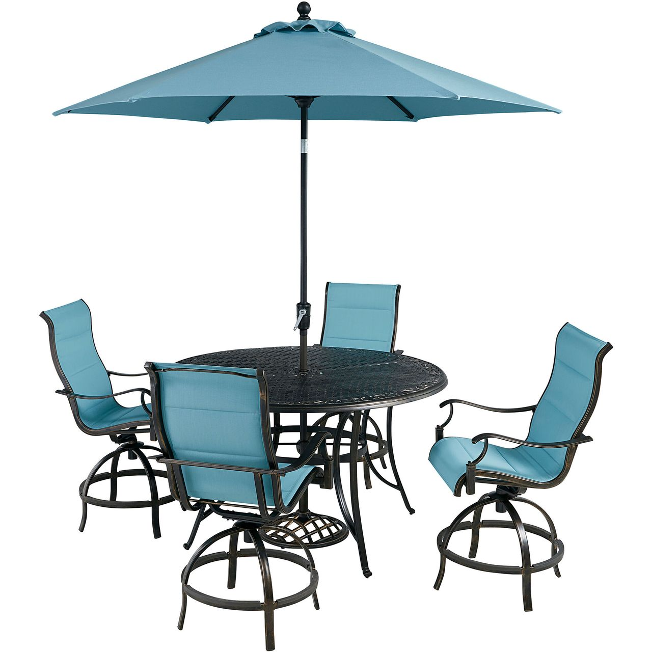 """Hanover Traditions 5-Pc 56"""" High-Dining Set With Blue Chairs/Umbrella"""