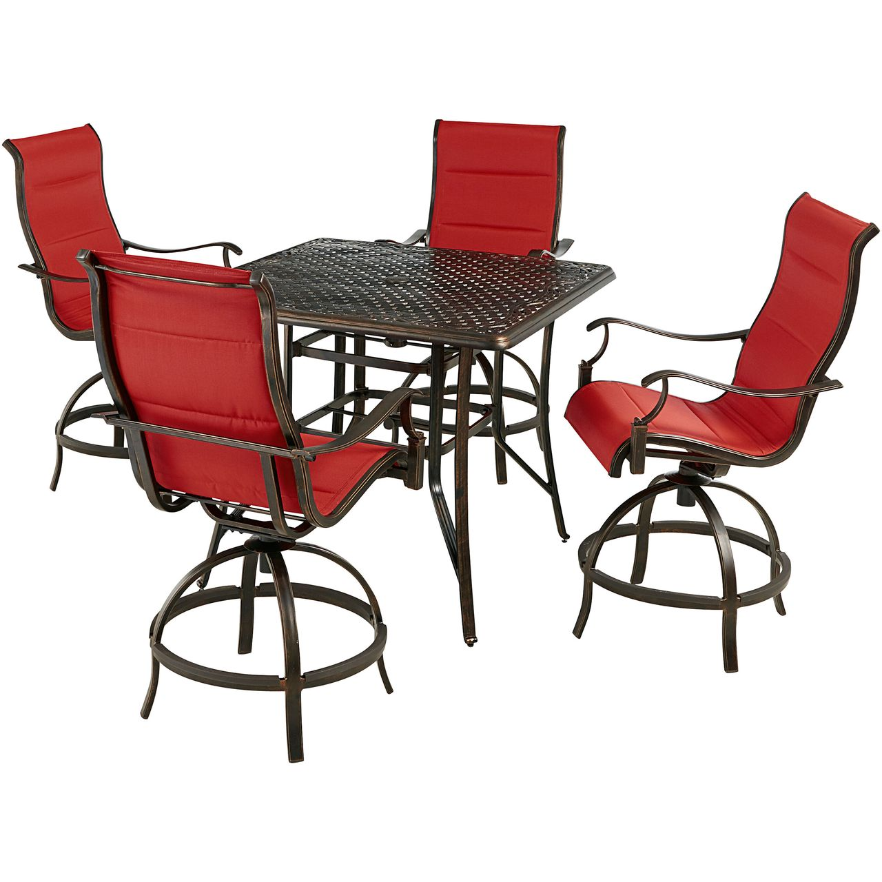 """Hanover Traditions 5-Pc 42"""" High-Dining Set With Red Chairs"""