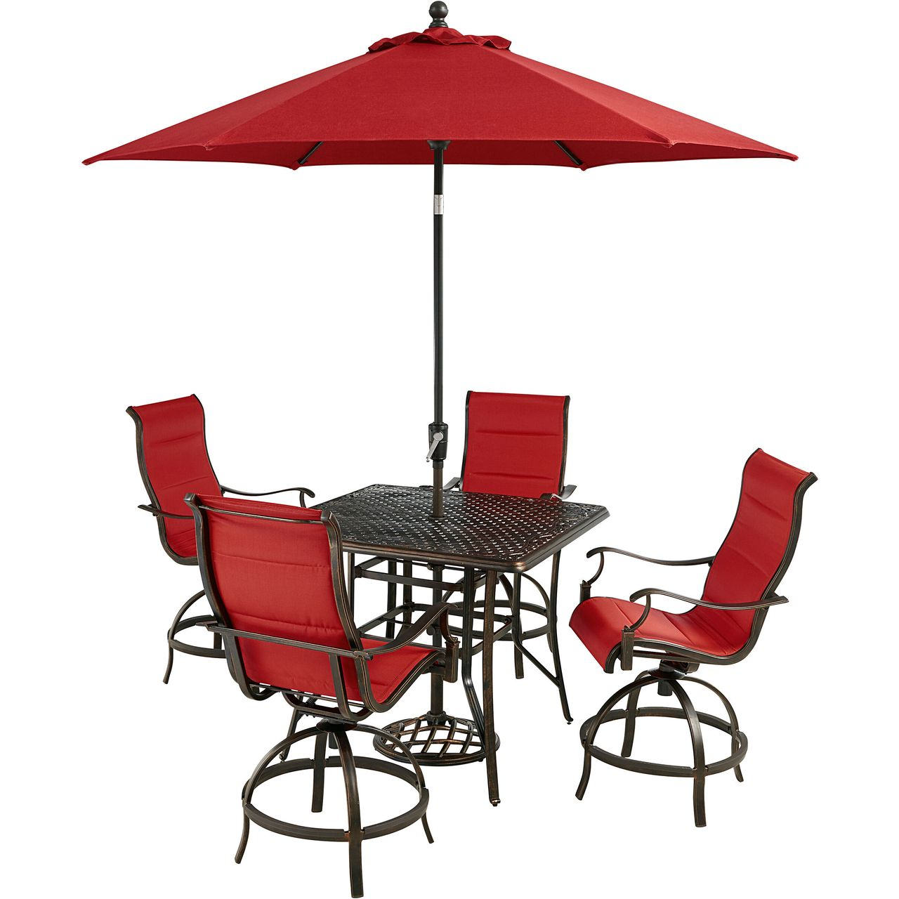"""Hanover Traditions 5-Pc 42"""" High-Dining Set With Red Chairs/Umbrella"""