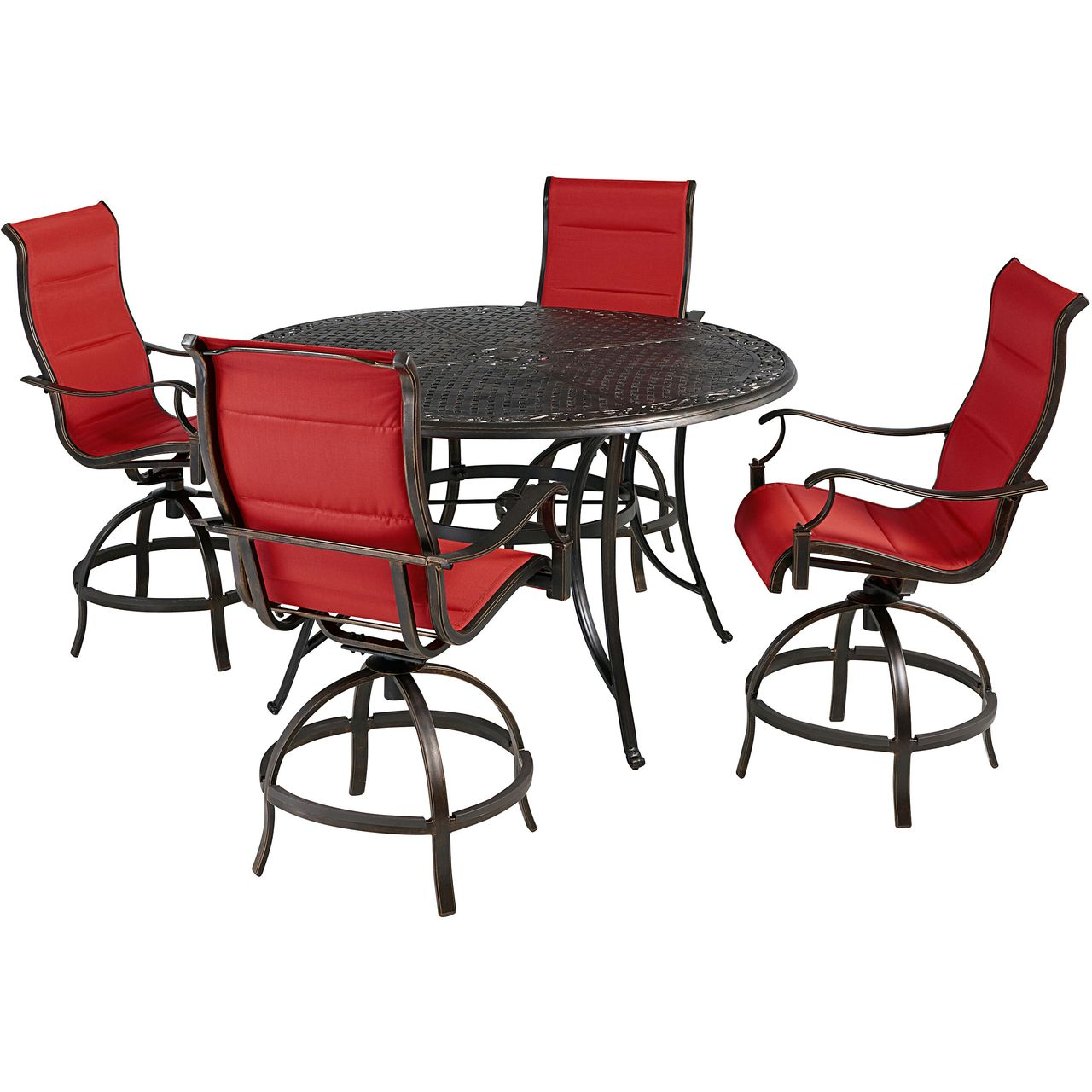 """Hanover Traditions 5-Pc 56"""" High-Dining Set With Red Chairs"""