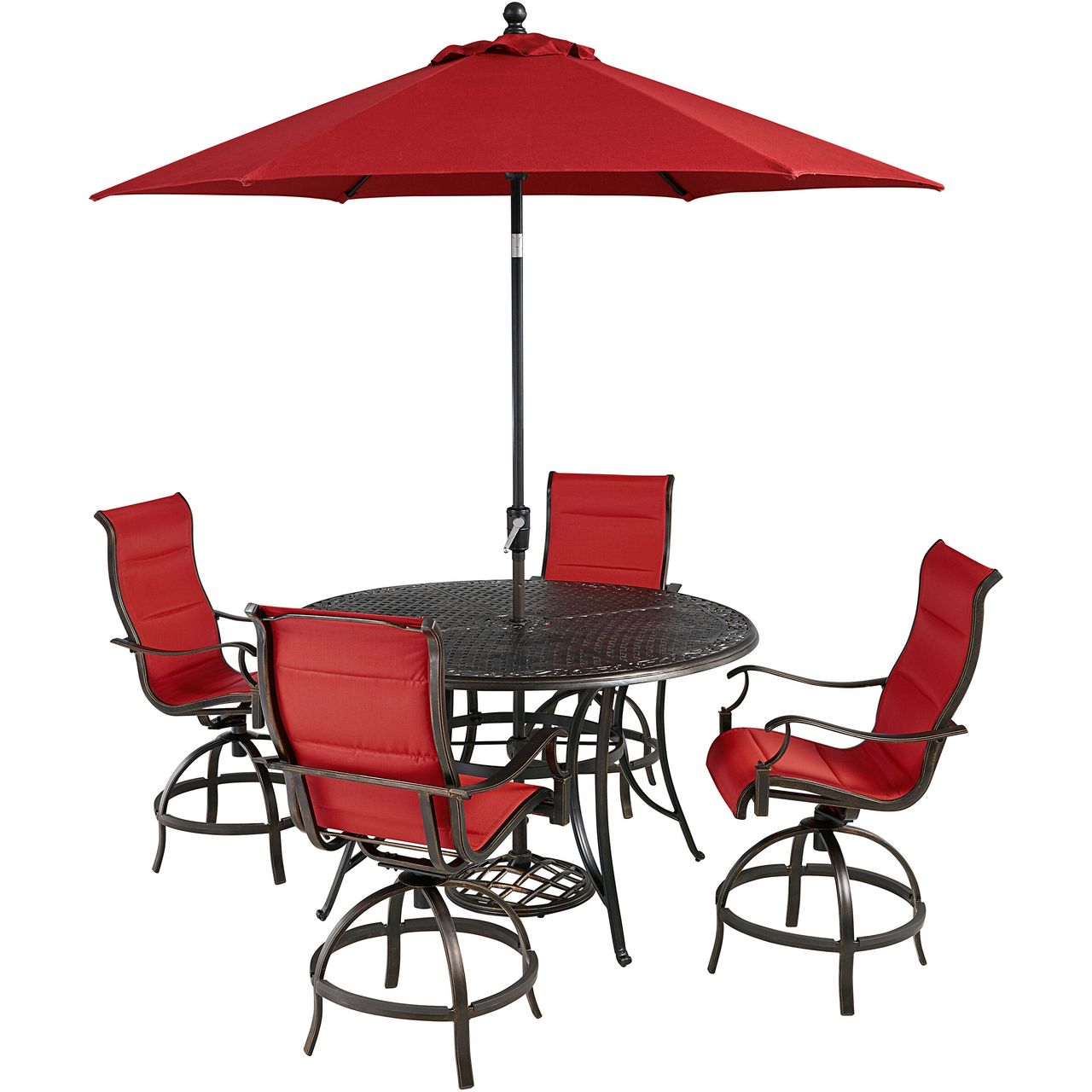 """Hanover Traditions 5-Pc 56"""" High-Dining Set With Red Chairs/Umbrella"""