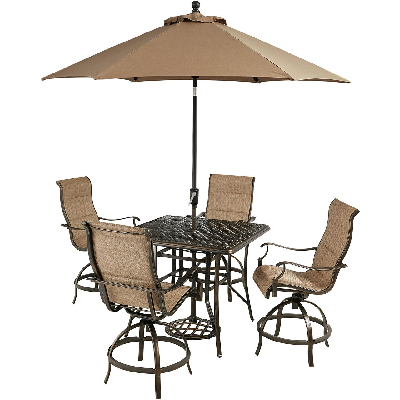 """Hanover Traditions 5-Pc 42"""" High-Dining Set With Tan Chairs/Umbrella"""