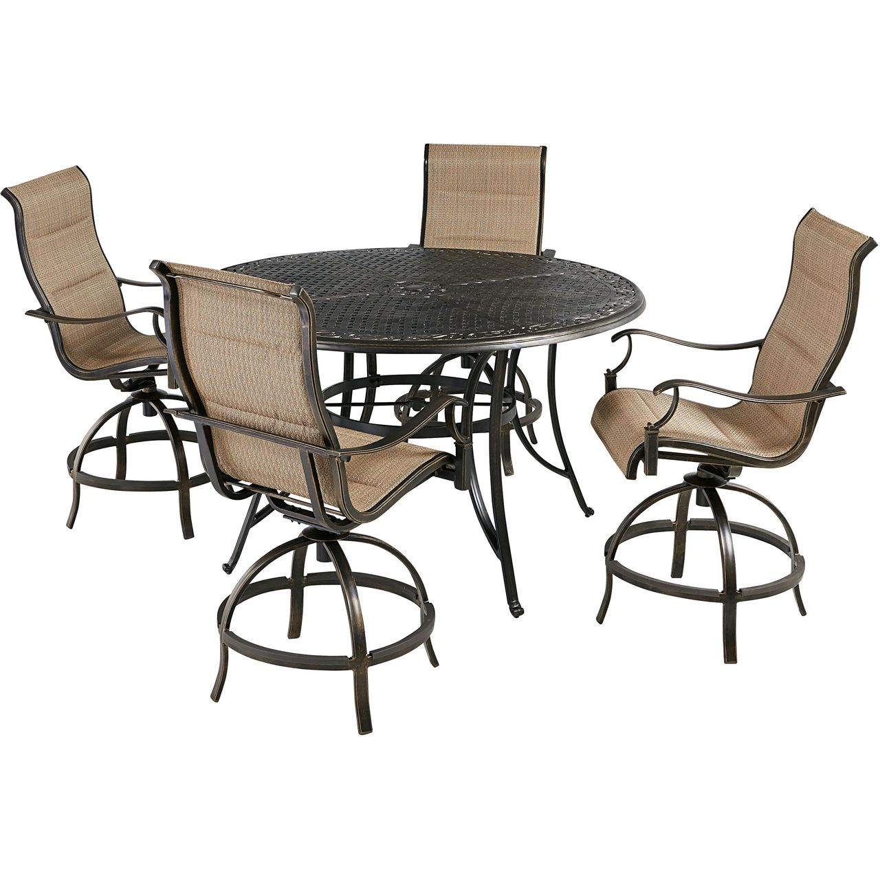 """Hanover Traditions 5-Pc 56"""" High-Dining Set With Tan Chairs"""