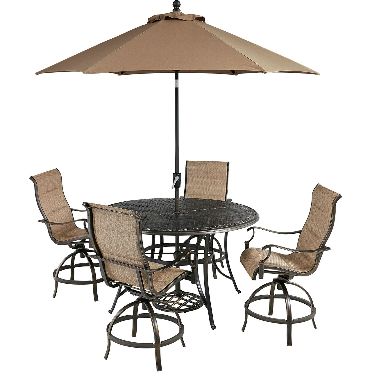 """Hanover Traditions 5-Pc 56"""" High-Dining Set With Tan Chairs/Umbrella"""