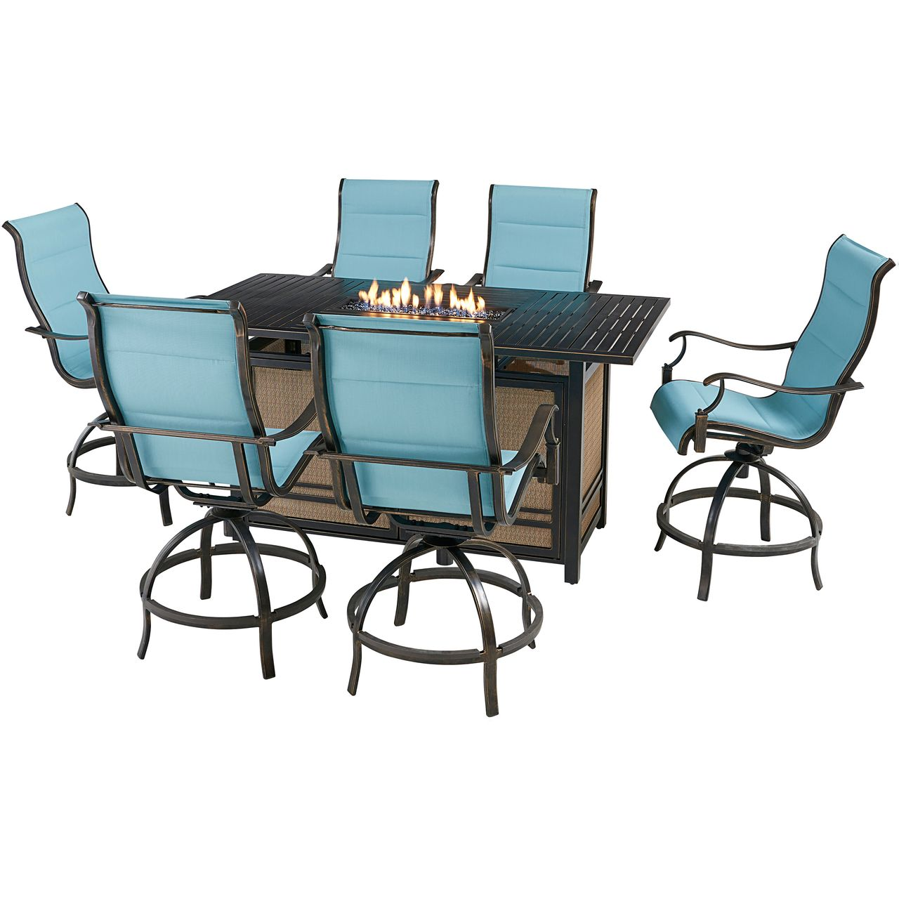 """Hanover Traditions 7-Pc 68"""" Fire Pit High-Dining Set With Blue Chairs"""