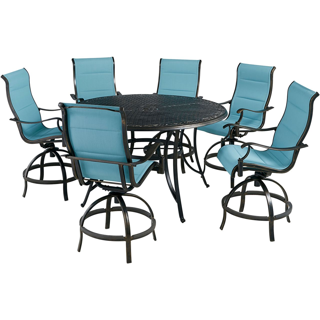"""Hanover Traditions 7-Pc 56"""" High-Dining Set With Blue Chairs"""