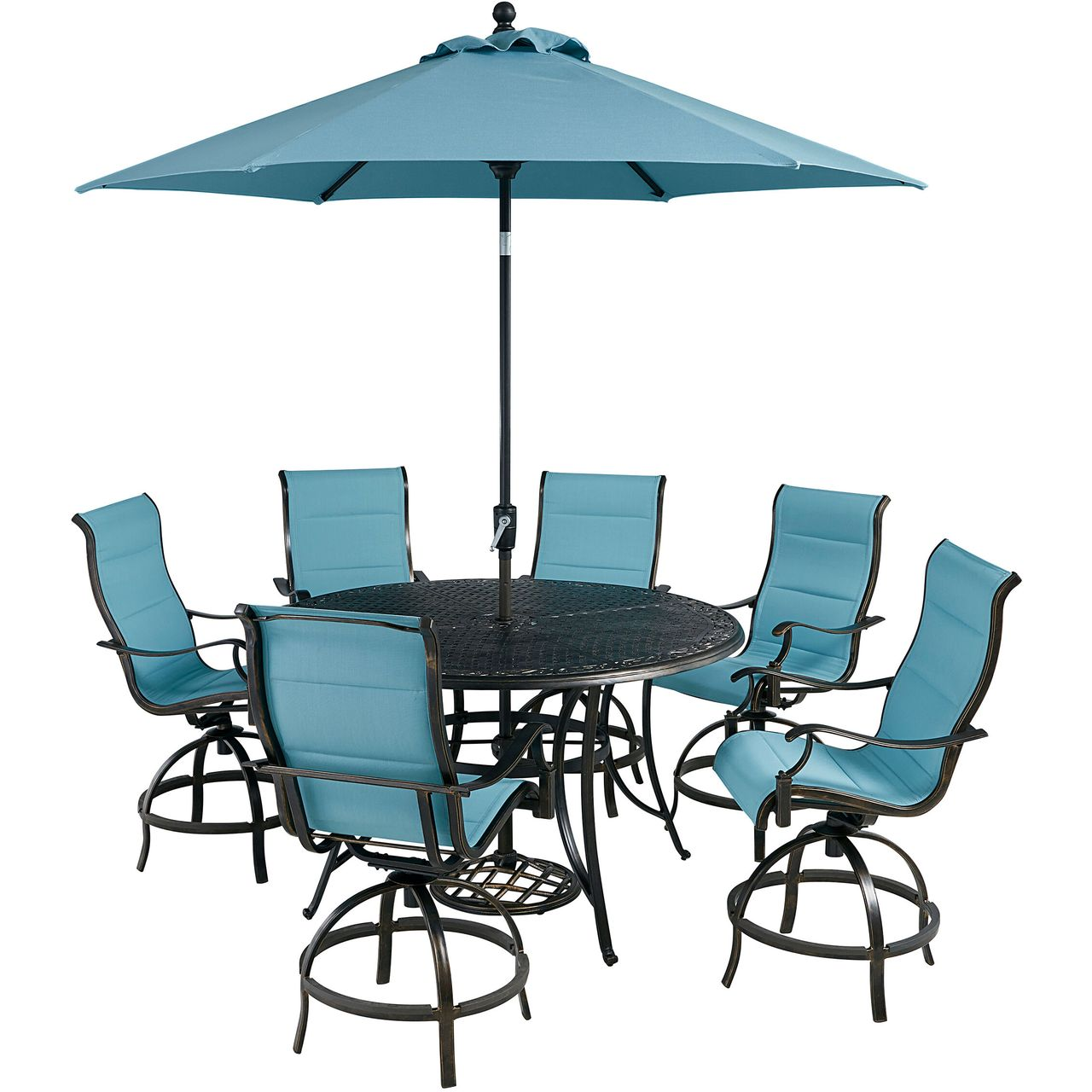 """Hanover Traditions 7-Pc 56"""" High-Dining Set With Blue Chairs/Umbrella"""
