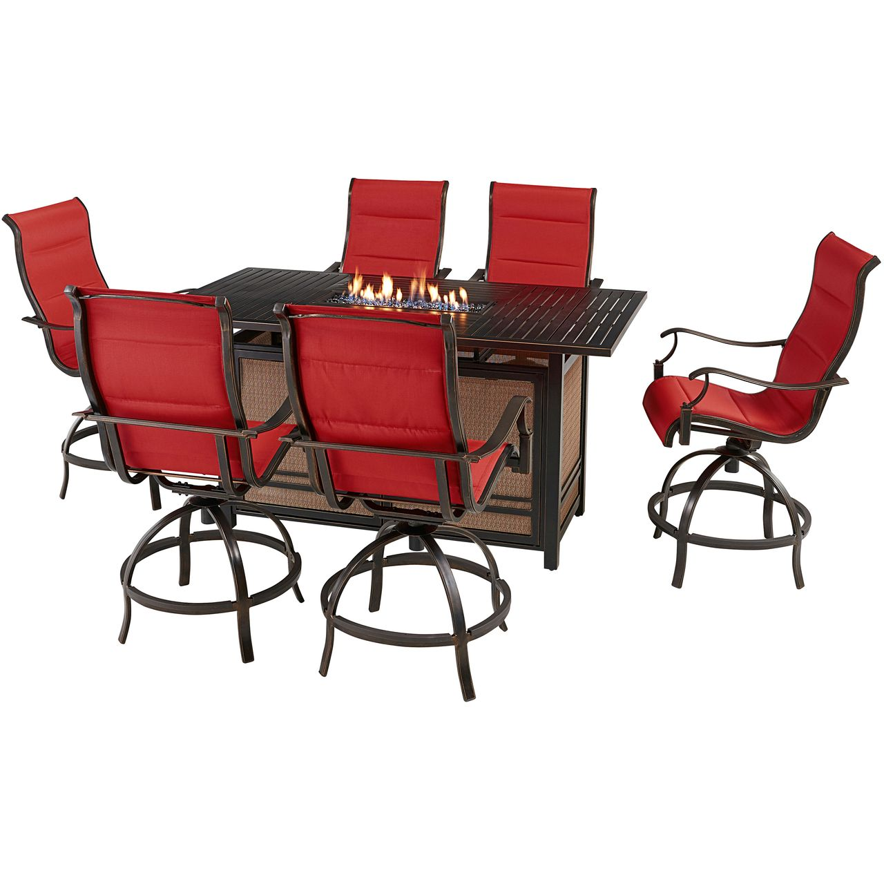 """Hanover Traditions 7-Pc 68"""" Fire Pit High-Dining Set With Red Chairs"""