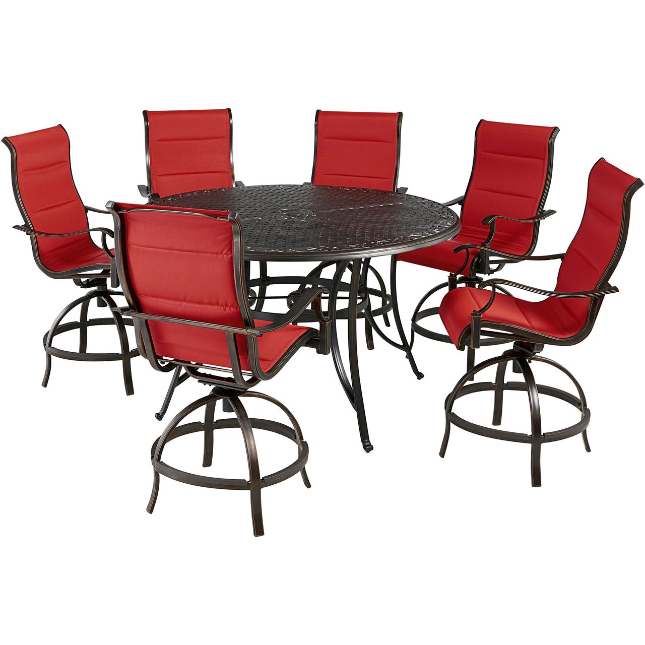 """Hanover Traditions 7-Pc 56"""" High-Dining Set With Red Chairs"""