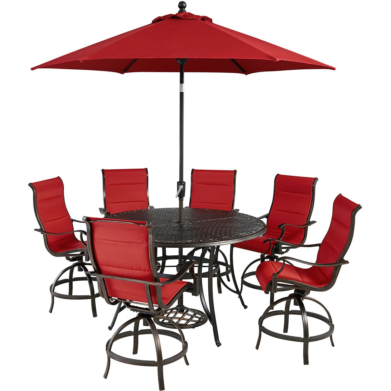 """Hanover Traditions 7-Pc 56"""" High-Dining Set With Red Chairs/Umbrella"""