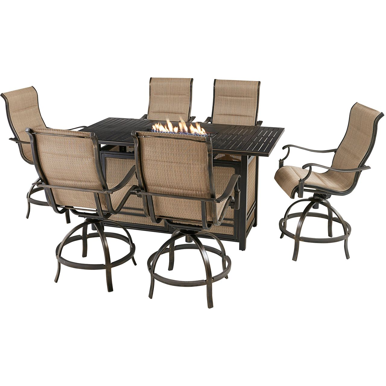 """Hanover Traditions 7-Pc 68"""" Fire Pit High-Dining Set With Tan Chairs"""