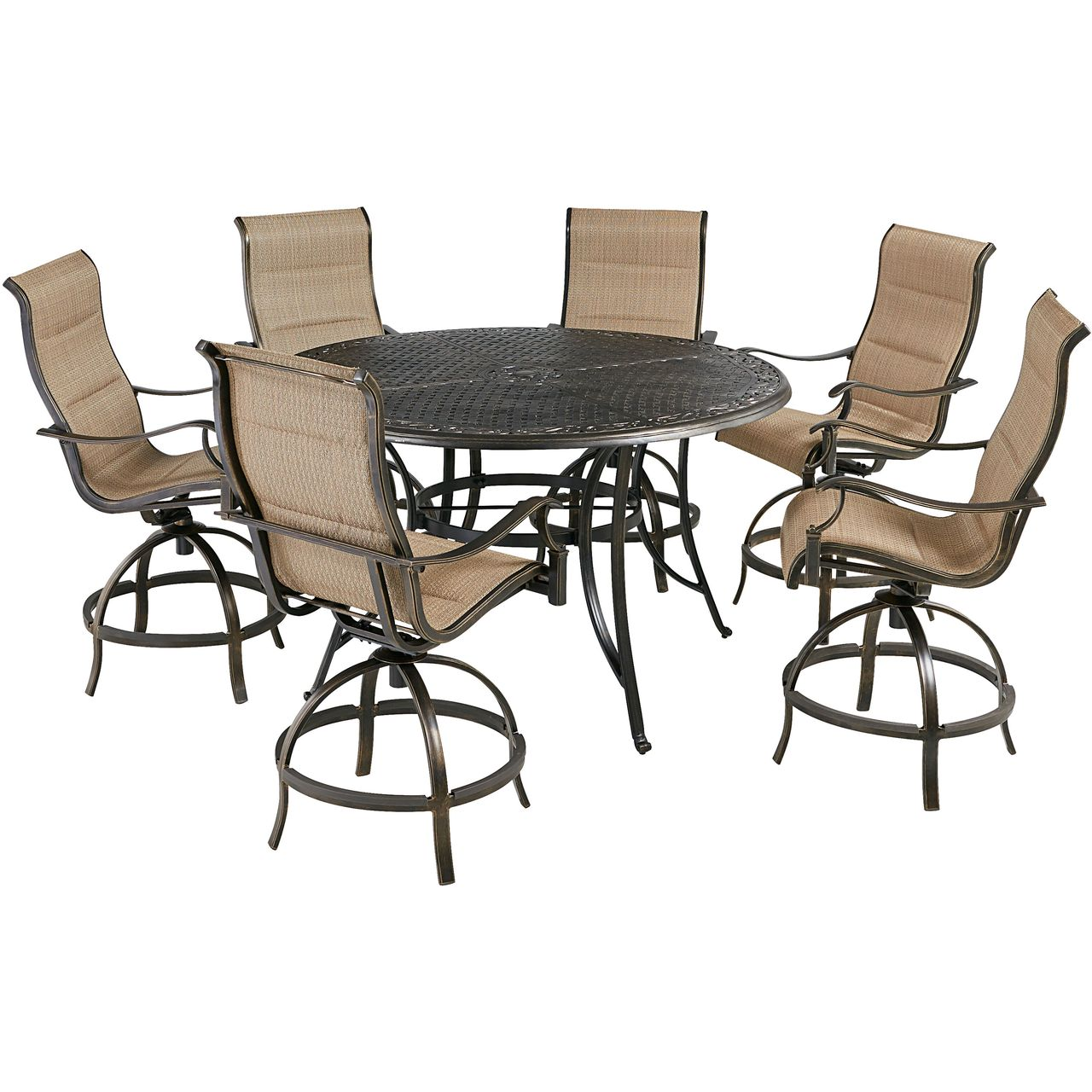 """Hanover Traditions 7-Pc 56"""" High-Dining Set With Tan Chairs"""