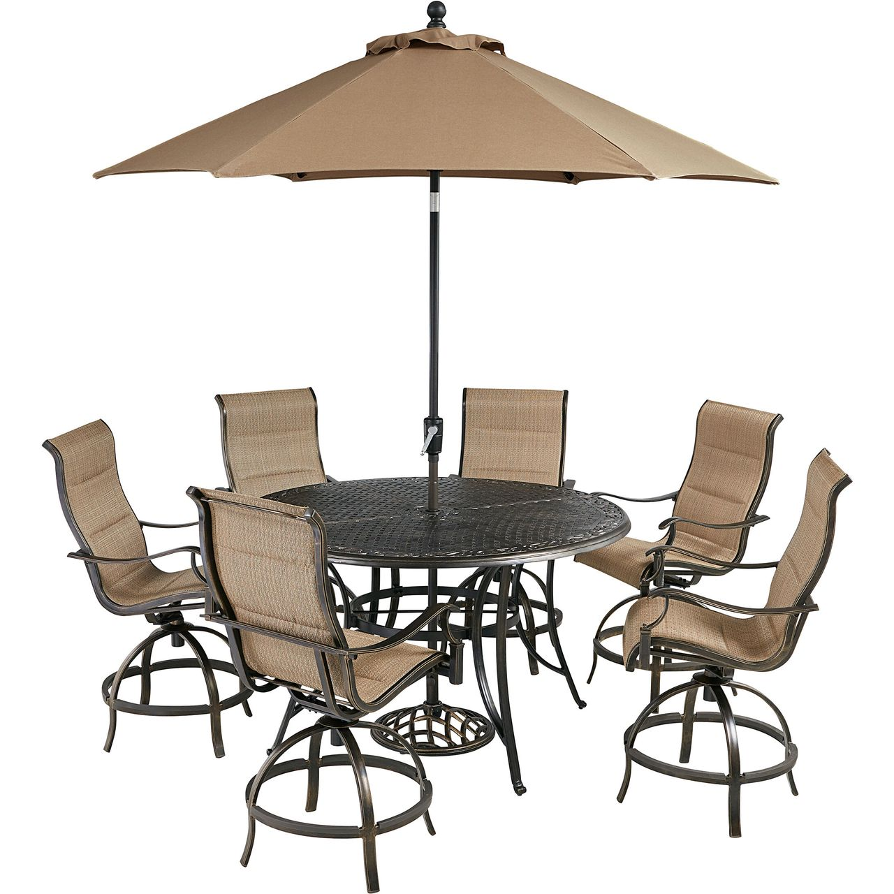 """Hanover Traditions 7-Pc 56"""" High-Dining Set With Tan Chairs/Umbrella"""