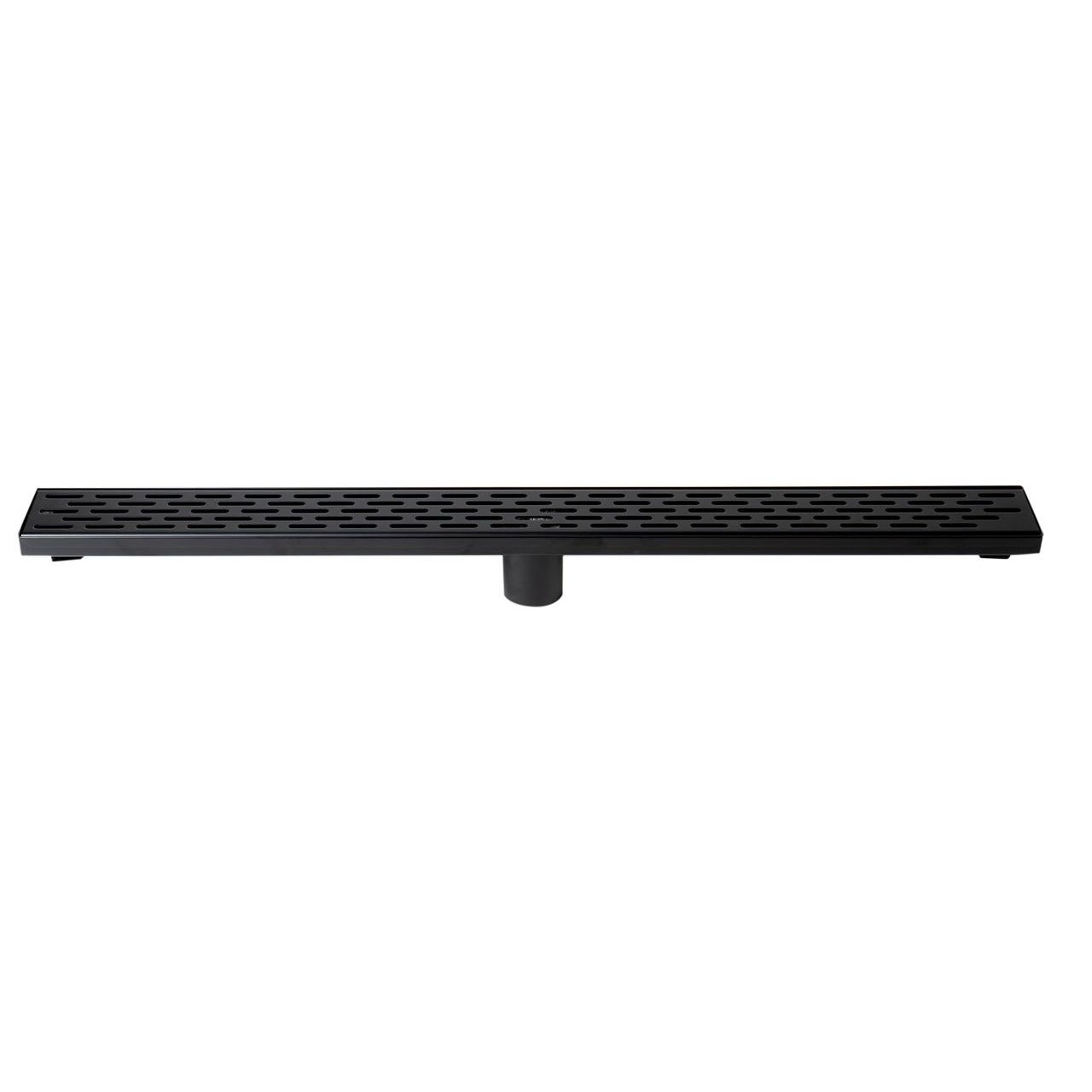 """ALFI 32"""" Black Matte Stainless Steel Shower Drain with Groove Holes"""