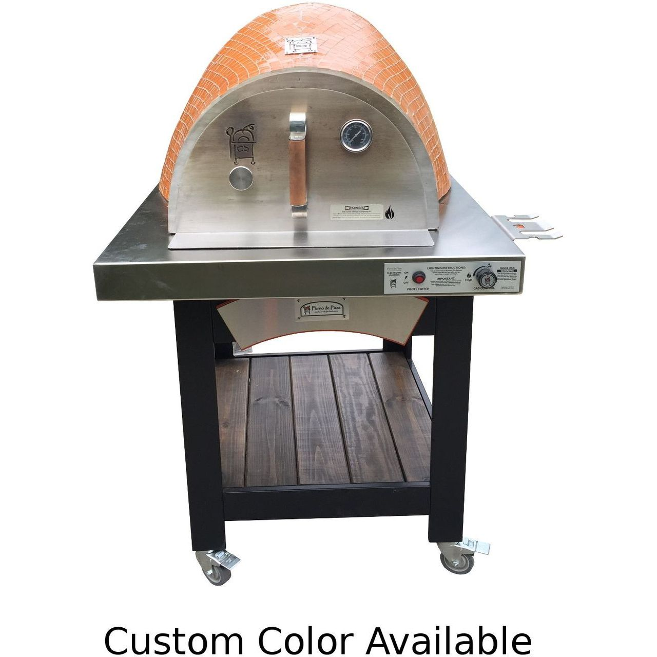 HPC Forno Hybrid Gas/Wood Oven With EI & Cart in Custom Color - NG