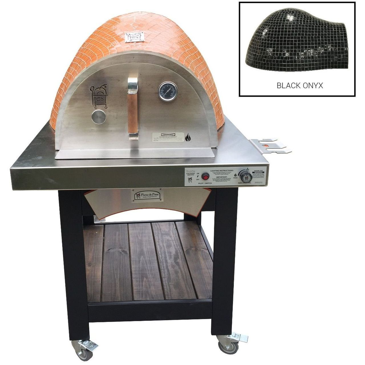 HPC Forno Hybrid Gas/Wood Oven With EI & Cart in Black Onyx - LP