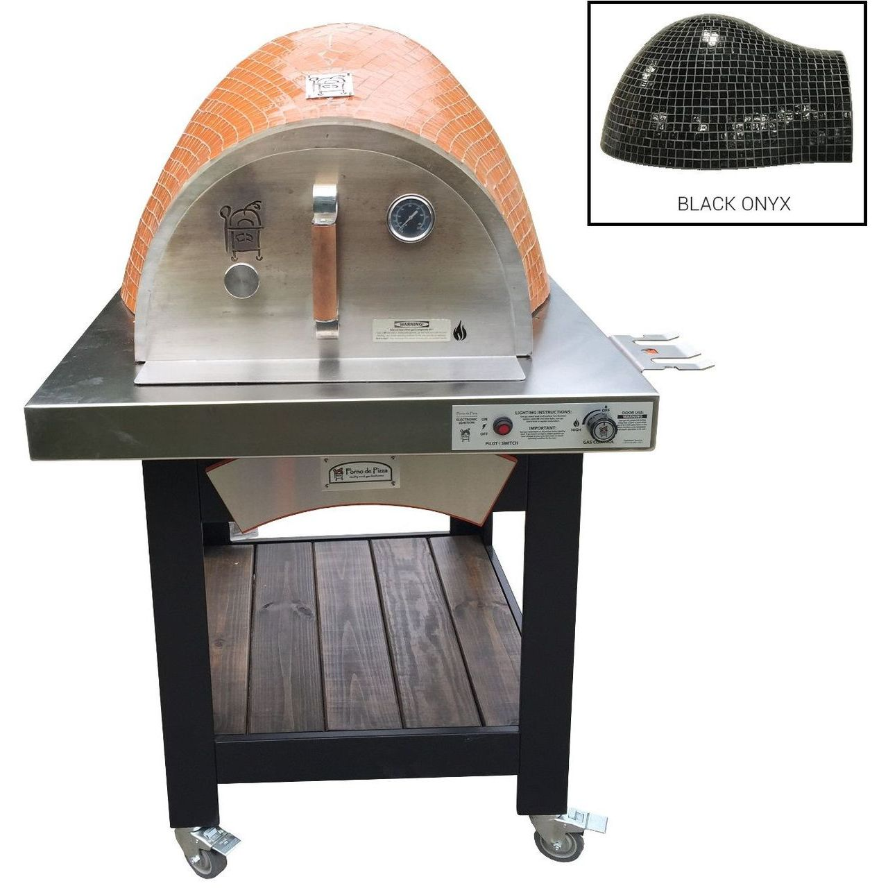 HPC Forno Hybrid Gas/Wood Oven With EI & Cart in Black Onyx - NG